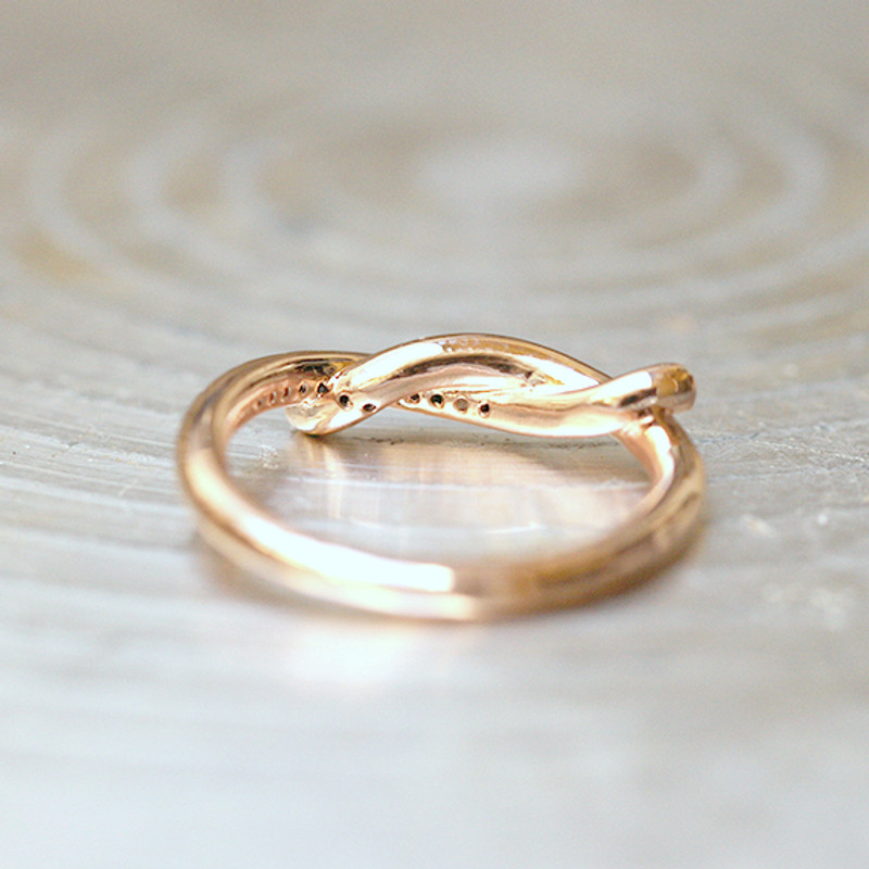 CZ Rose Gold Knot Ring Sterling Silver from kellinsilver.com