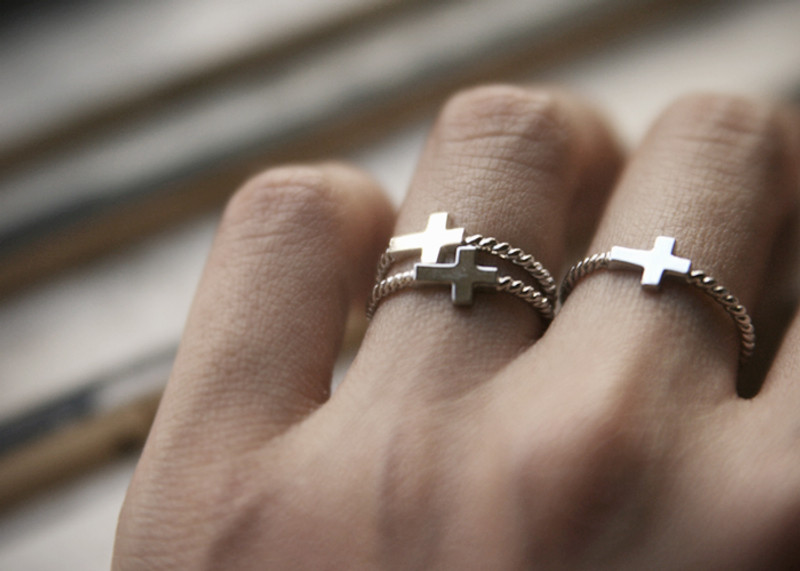 Sterling Silver Sideways Cross Ring White Gold from kellinsilver.com
