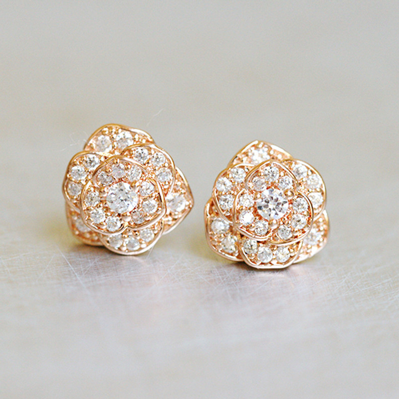 CZ Rose Gold Rose Stud Earrings Sterling Silver from kellinsilver.com