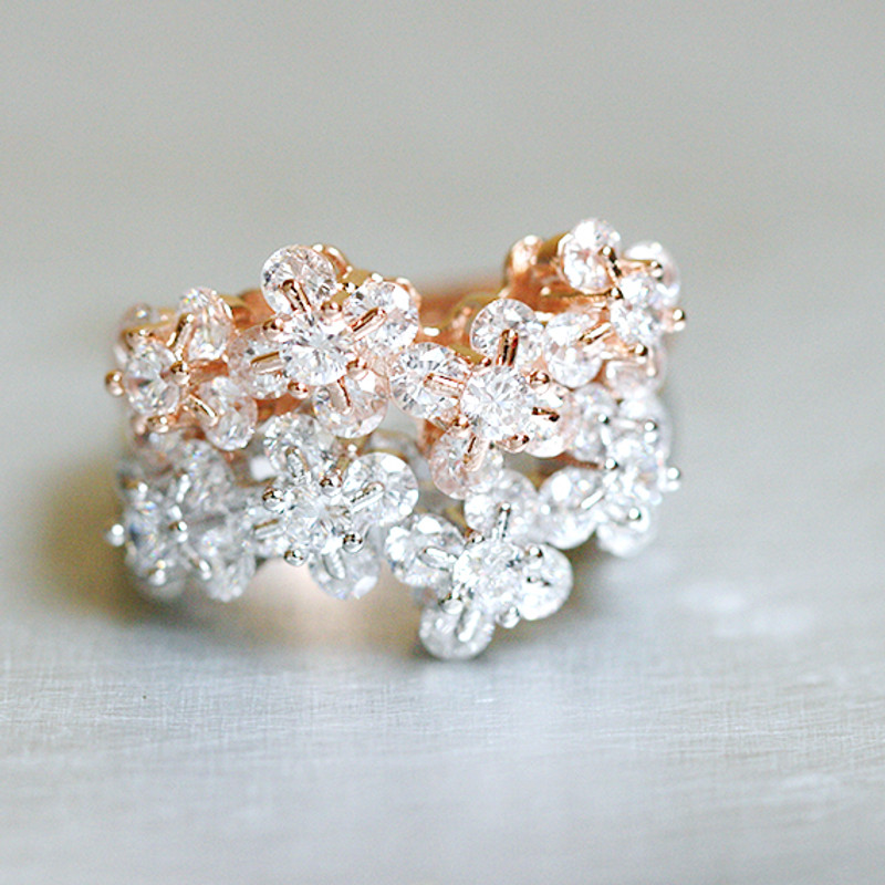 Rose Gold Blossom Wedding Ring Sterling Silver from kellinsilver.com