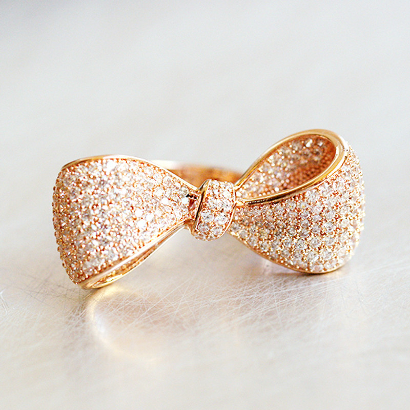 Pave Rose Gold Oversize Wedding Bow Ring Sterling Silver from kellinsilver.com