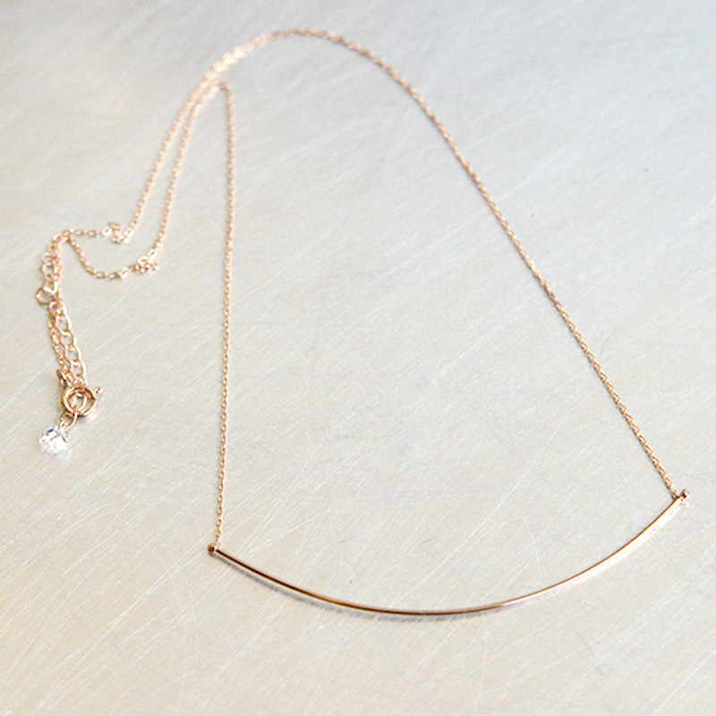 Rose Gold Very Thin and Long Curved Bar Necklace Sterling Silver from kellinsilver.com
