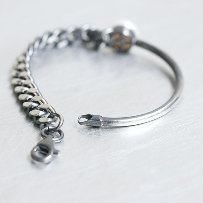 Oxidized Sterling Silver Asymmetric Chain Freshwater Pearl Bracelet from kellinsilver.com