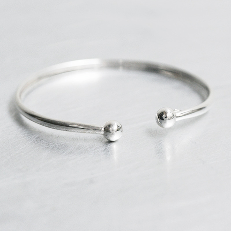 Sterling Silver Double Ball Bracelet Cuff from kellinsilver.com