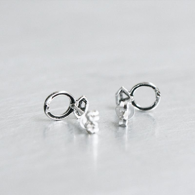 Oxidized Silver Tiny Diamond Ring Stud Earrings from kellinsilver.com