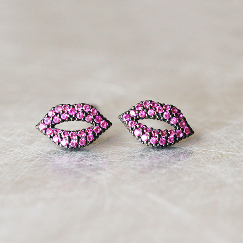 Swarovski Ruby Black Kiss Me Lips Earrings Studs from kellinsilver.com