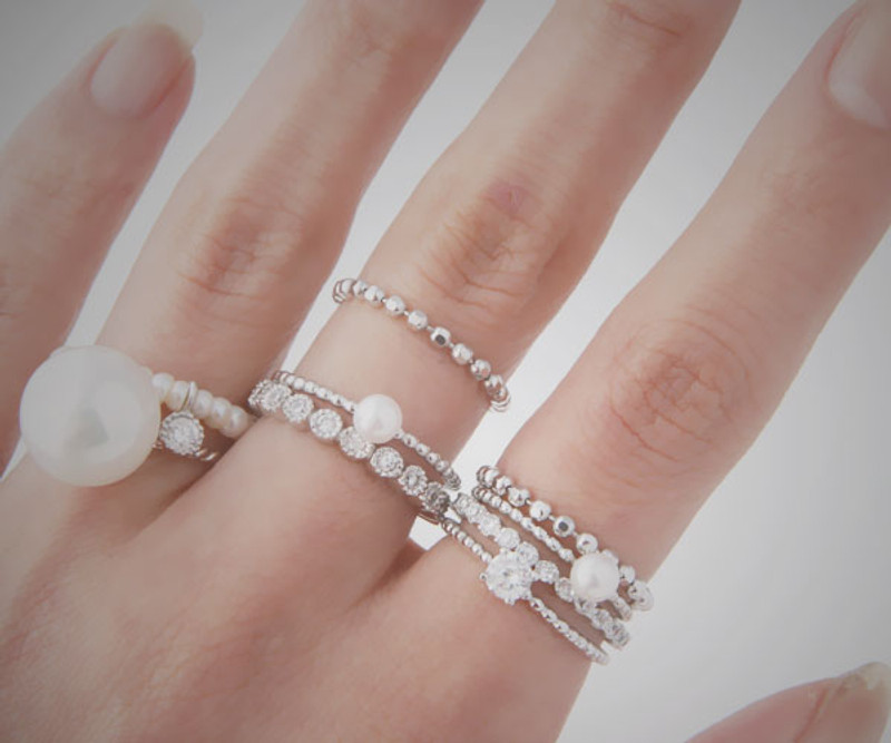 Sterling Silver CZ Eternity Ring and Solitaire Ring Set of 2