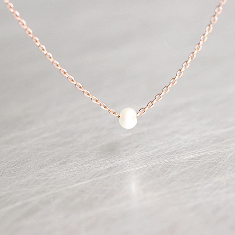Rose Gold Tiny Freshwater Necklace sterling Silver from kellinsilver.com