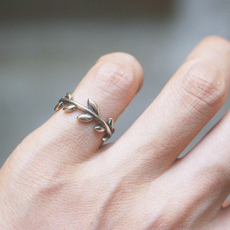 Oxidized Sterling Silver Olive Leaf Ring Cuff from kellinsilver.com