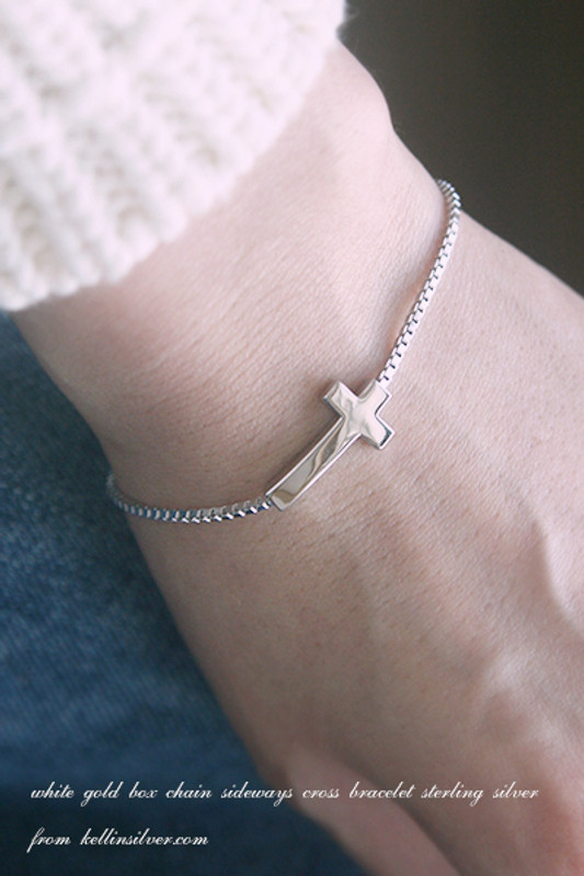 White Gold Box Chain Sideways Cross Bracelet Sterling Silver from kellinsilver.com