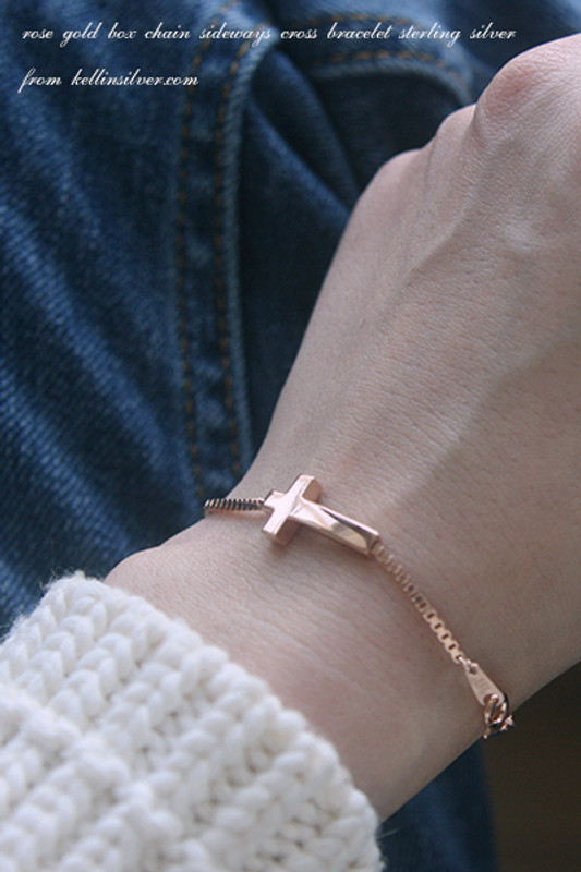 Rose Gold Box Chain Sideways Cross Bracelet Sterling Silver from kellinsilver.com