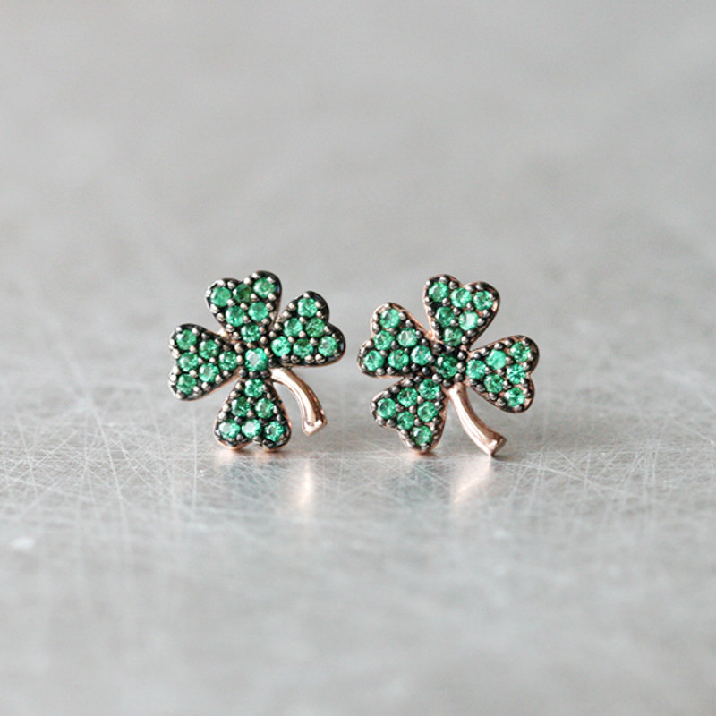 Emerald Green Four Leaf Clover Stud Earrings Rose Gold from kellinsilver.com