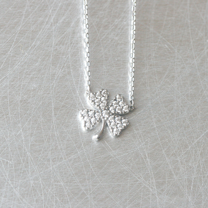 White Gold CZ Four Leaf Clover Necklace Sterling Silver from kellinsilver.com