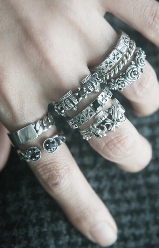 Oxidized Sterling Silver Black Star Cuff Ring from kellinsilver.com