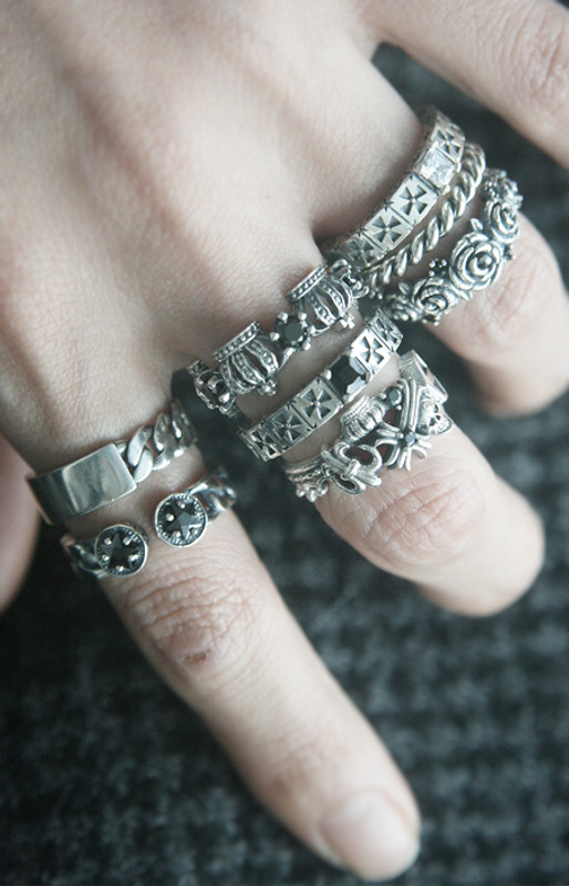 Vintage Inspired Black CZ Crown Eternity Band Ring Sterling Silver from kellinsilver.com