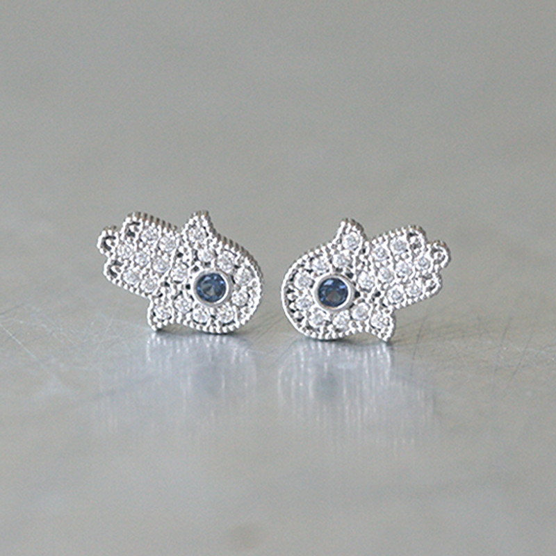 Sterling Silver Sapphire Blue Hamsa Stud Earrings White God from kellinsilver.com