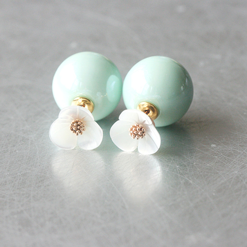 Mother Of Pearl Daisy Pastel Ball Backing Earrings from kellinsilver.com