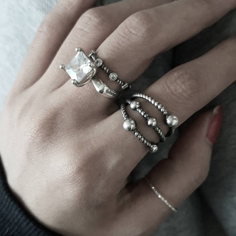 Sterling Silver Cutting Stack Rings Set