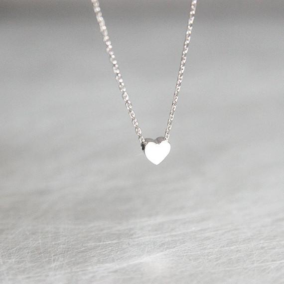 Tiny Necklace Silver Tiny Heart Silver Heart Necklace Silver Necklace Heart Necklace