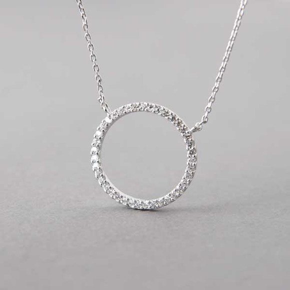 be38eb4ccd520 Swarovski White Gold Outline Circle Necklace Sterling Silver