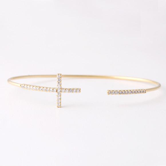 Swarovski Sideways Cross Cuff Gold Kellinsilver Com