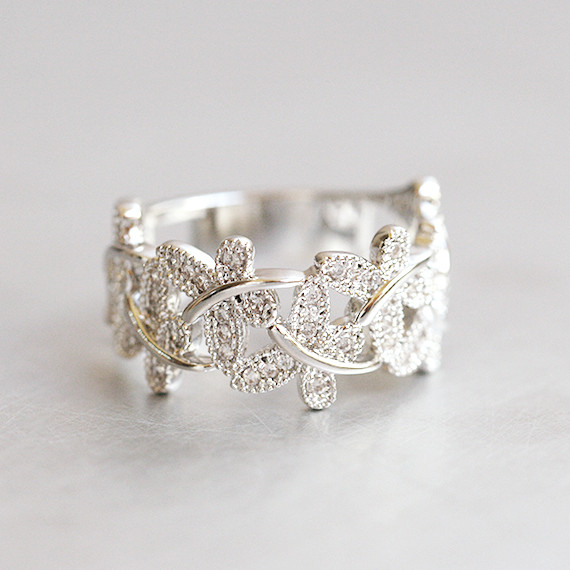 CZ Dragonfly Band Ring White Gold