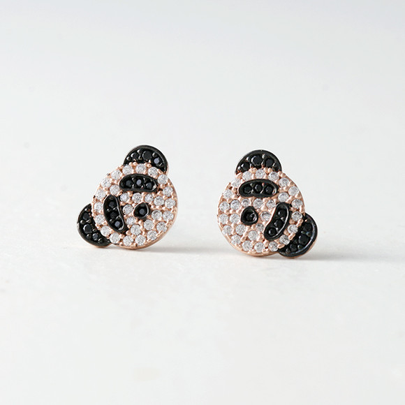 Swarovski Rose Gold Panda Studs Earrings Kellinsilver Com