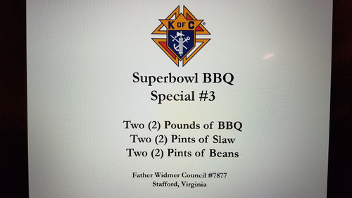 Super Bowl Tailgating BBQ  - SPECIAL #3  gets you TWO (2) Pounds of delicious BBQ Pork. Special #3 includes TWO (2) Pints of Slaw and TWO (2) Pints of Baked Beans!