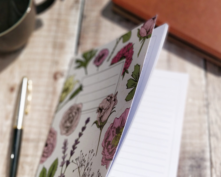 Pink Flowers A5 Lined Notebook