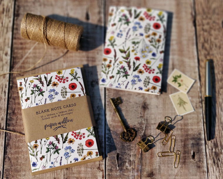 Wildflower patterned notecards and envelopes