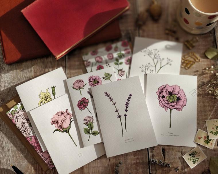 Set of 8 Pink Flowers Folded Notecards & Envelopes