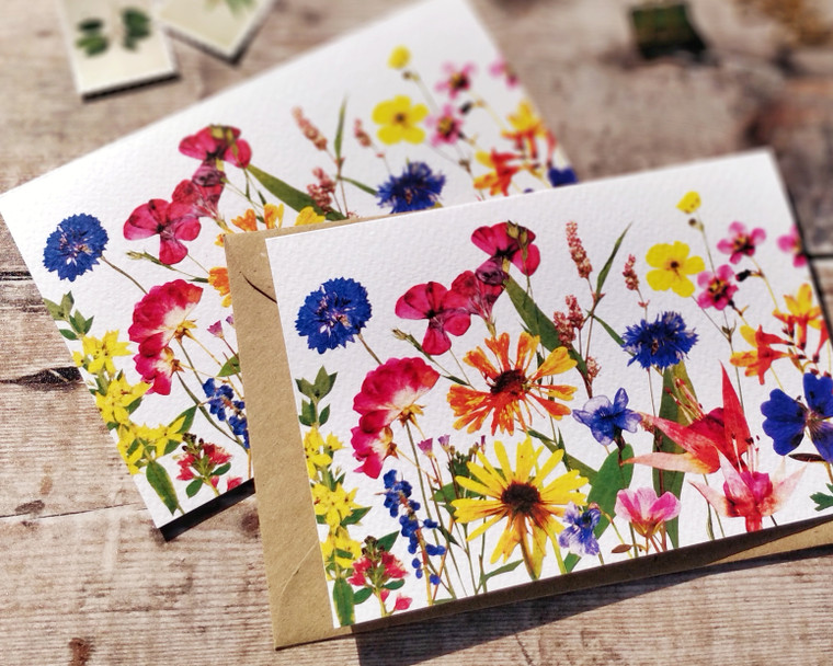 Printed pressed flowers notecards and envelopes