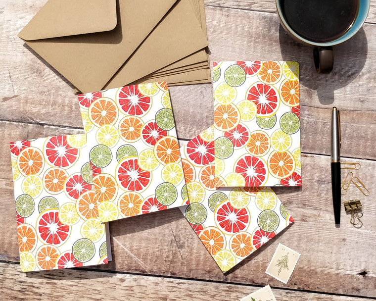 Citrus fruits colourful notecards and envelopes