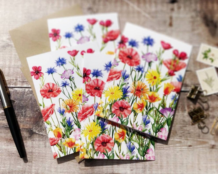 Watercolour wildflower meadow notelets and envelopes