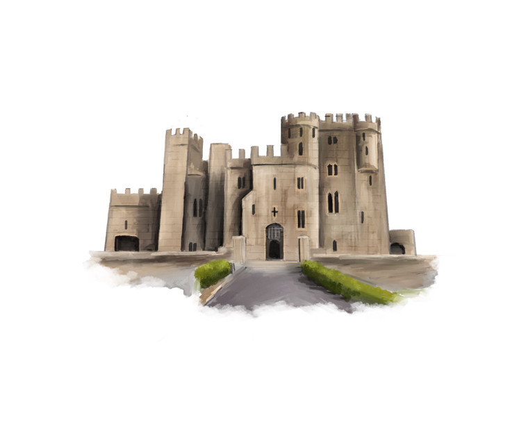 Watercolour painting of a castle