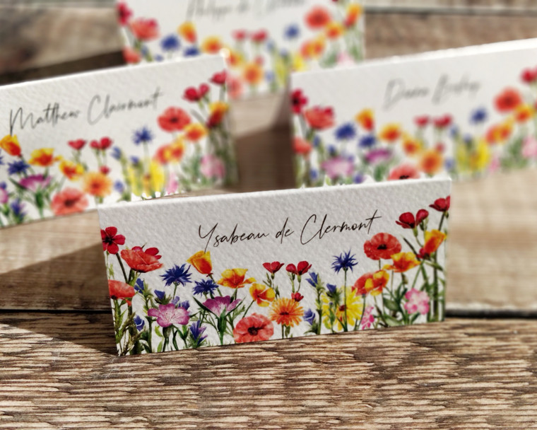 Wildflower Watercolour Folded Place Cards