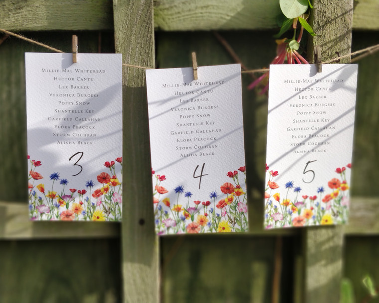 Wildflower Watercolour Table Plan Hanging Cards