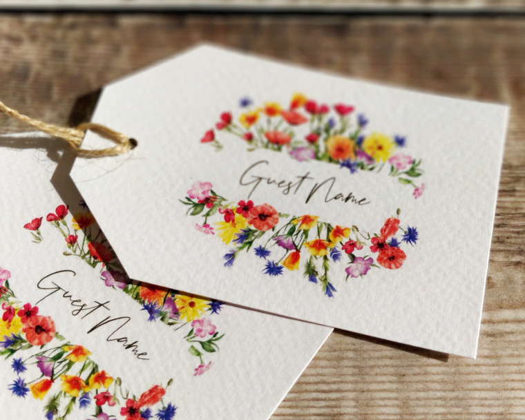 Wildflower Watercolour Luggage Tag Name Cards