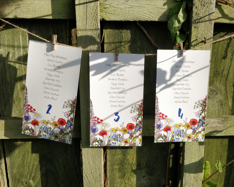 Wild Meadow Table Plan Hanging Cards