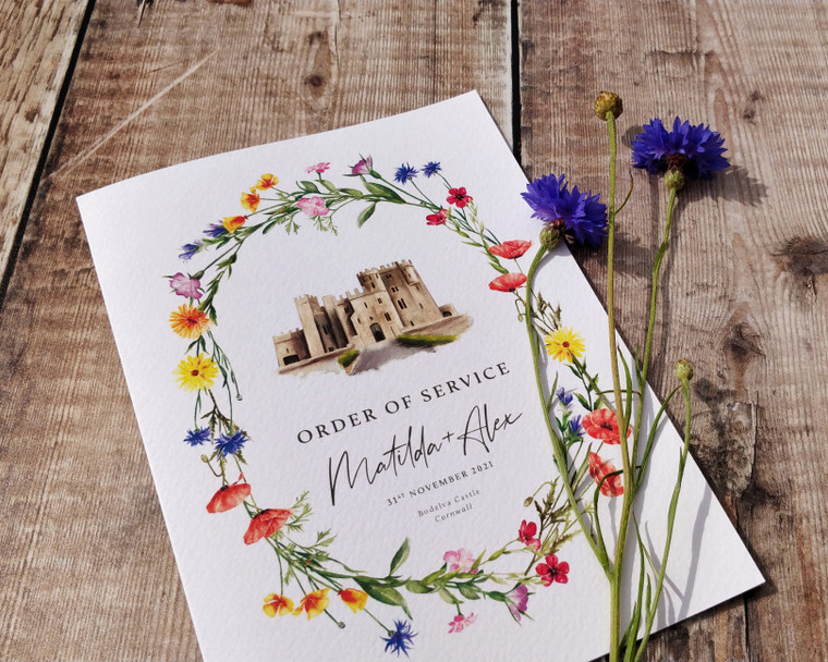 Wildflower Watercolour Venue Order of Service Folded Card