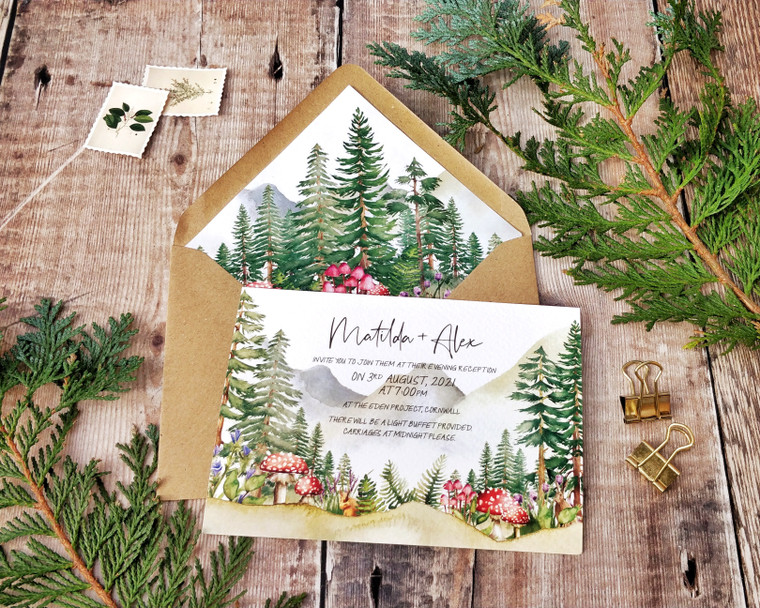 Forest and Mountains A6 Invitation Set