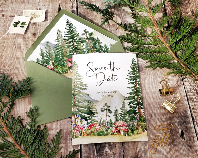 Forest and Mountains Save the Date card
