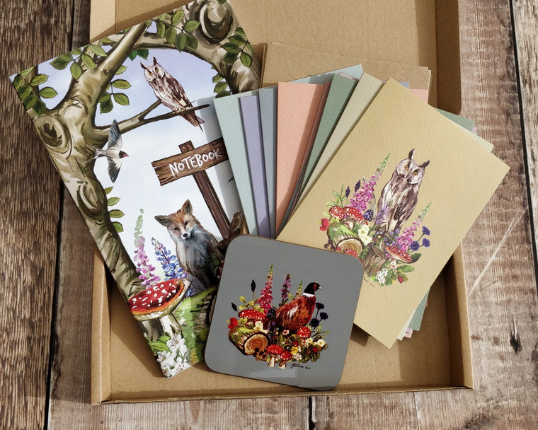 Forest Animals Gift Set Bundle (10 note cards, 1 x notebook, 1 x coaster)