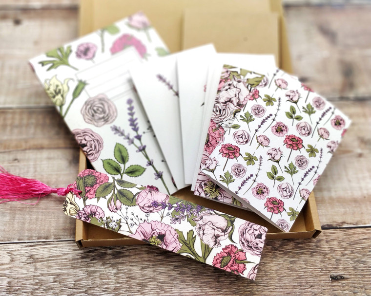 Pink Flowers Gift Set Bundle (8 note cards, 1 x notebook, 1 x bookmark)