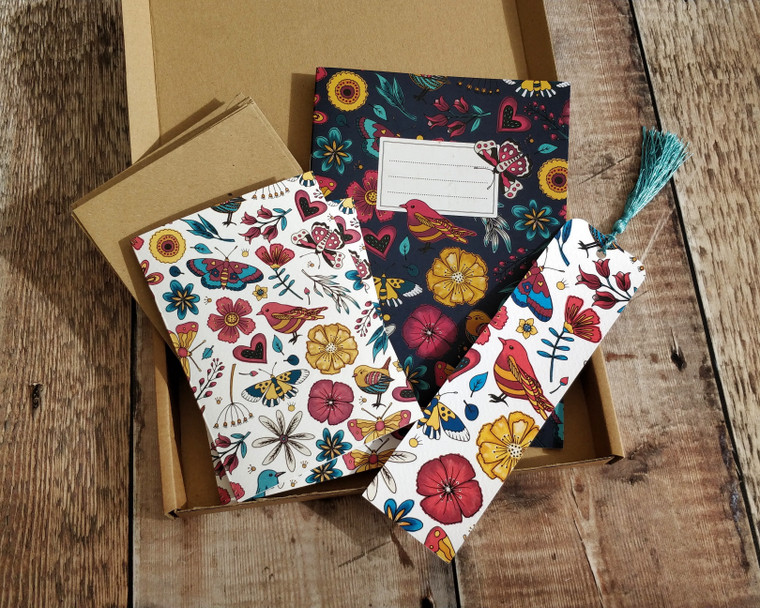 Birds and Butterflies Gift Set Bundle (10 note cards, 1 x notebook, 1 x bookmark)