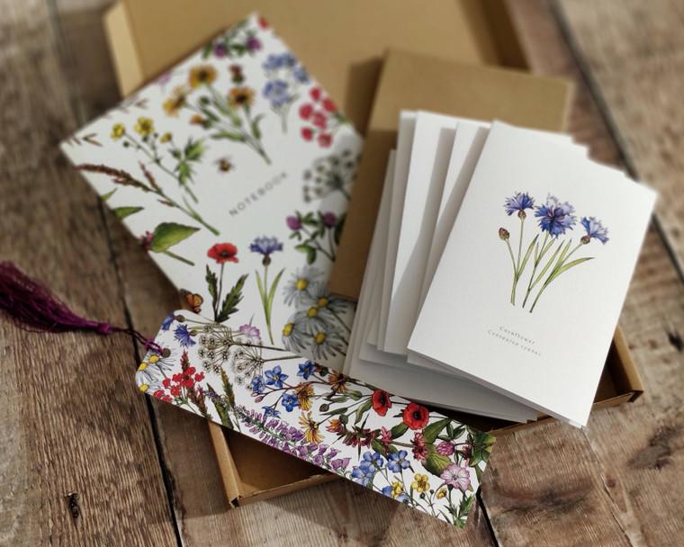 Wildflowers Gift Set Bundle (8 notecards, 1 x notebook, 1 x bookmark)