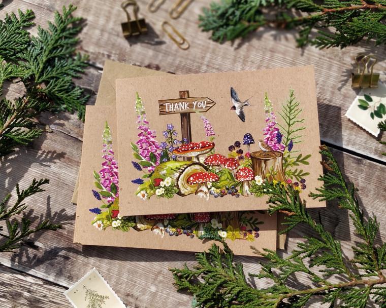 Woodland animals folded thank you cards and envelopes
