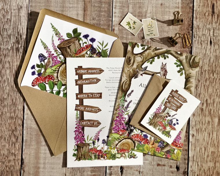 Woodland Animals A5 Invitations and Envelopes