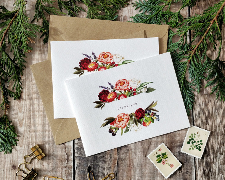 Peonies in September Folded Thank You Cards & Envelopes