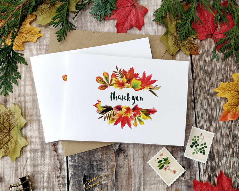Autumn Leaves Folded Thank You Cards & Envelopes